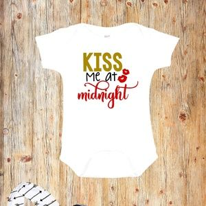 Kiss Me at Midnight New Year's Eve Baby Onesie